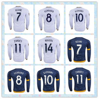 Fast Tailandia LA Galaxy de manga larga # 7 # 10 KEANE GIOVANI 11 ZARDES # 8 GERRARD # 14 ROGERS camisa 23 Beckham 2016 dirige el fútbol Jersey Azul Blanco