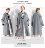 Wholesale Hot Sale Fall Winter For Women Fashion Wool Blends Outerwear Coats V neck Panelled Slim Khaki Grey Warm Polyester Comfortable