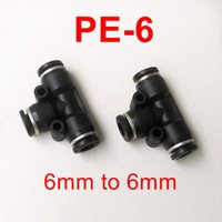 Wholesale DESTO high quality Pneumatic Fitting Pneumatic Air Fitting mm to mm to mm T Shape Quick Fitting Connector PE6