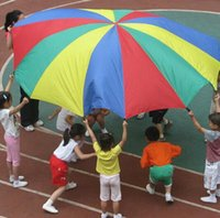 Wholesale 2016 Hot m Child Kid Sports Development Outdoor Rainbow Umbrella Parachute Toy Jump sack Ballute Play Parachute