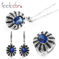 best brand cocktails - 2015 Fashion Deluxe Brand Best Sapphire Spinel Cocktail Ring Pendant Earrings Set Solid Sterling Silver Bijouterie For Women