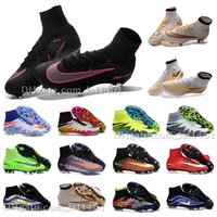 ankle boots spike - New OrigINal mens ACC MaGIsta Soccer shoes High Ankle football Boots HERITAGE SuPERfly IV V CR FG MerCURial CR7 cleats shoes HypeRVEnom