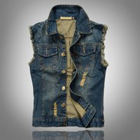 Wholesale 2016 New Fashion Mens Denim Vest Vintage Sleeveless washed jeans waistcoat Man Cowboy ripped Jacket Plus Size XL Tank Top JA335