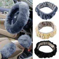 Wholesale 3 set Charm Warm Long Wool Plush car Steering Wheel Cover woolen Car Handbrake Accessory hot selling