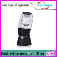 Wholesale 50pcs Magic Red Wine Decanter Aerator with bag and filter hopper Wine Decanter YX XJQ