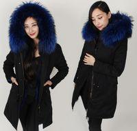 Wholesale Mrs Ladies Long furs parkas with blue real raccoon fur collar women black jacket Liner Detachable