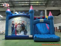 Wholesale inflatable frozen princess bouncy jumping castle with slide inflatable combo princess castle inflatable trampoline