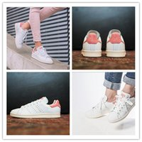 Wholesale with shoes box original Bronzing Originals STAN SMITHS shoes SS white pink for women brand sports running sneakers