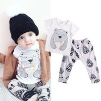 bear baby girl - 2016 New Baby Girl Boy Clothes Organic Bear Tops T shirt Pants Leggings Outfits Set