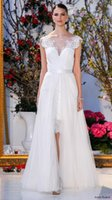anne barge wedding dress - Anne Barge Overskirt Lace Wedding Dresses Sheer Neck Cap Sleeves Detachable Train Summer Plus Bridal Wedding Gowns For Garden Country
