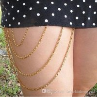 Wholesale Body Chains Drop Shipping Multilayer Tassel Gold Plated Thigh Chains Women Brand New Fashion Brief Sexy Summer Body Jewelry BC056