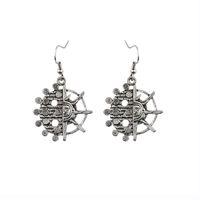 american retro jade jewelry - New Bohemia Tibetan jewelry Tibetan silver retro flower circular pendant retro plating pair drop shipping feather earrings