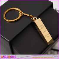 Wholesale Faux Simulation model Gold Bar Ingot Bullion Keychain Gold bars Keyfob Keyring Alloy keychains Creative Gift