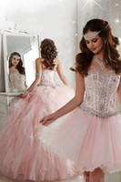 Wholesale Pink Quinceanera Dresses Gorgeous Ball Gown Sweetheart Lace up Beaded Crystals Tiers Detachable Train Formal Prom Gowns