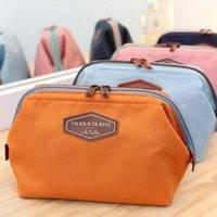Wholesale Cute Women Lady Travel Makeup Bag Candy Color Cosmetic Pouch Case New Zipper Clutch Handbag Korean Casual Cotton Purse Storage Bag ZJ B06