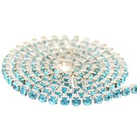 aquamarine diamond jewelry - Aquamarine Glass Rhinestones Silver Base Chains Copper Cup Chain Strass Pointed Back Sew On Glue On Strass Diamonds DIY Jewelry