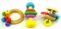 Wholesale Children Beech toy hand bell toy baby solid wood Sound toy BEST