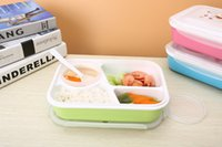 Wholesale 4 Grid And soup bowl Bento Microwave Lunch Box Rectangle Crisper Color Portable Picnic Container Storage Spoon Food Grade PP BPA Free