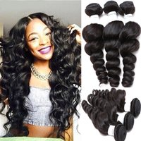 Wholesale Unprocessed BrazilianHair Weave Peruvian Malaysian Indian Remy Virgin Hair Extensions Natural Color Loose Wave Wavy Human Hair Free Shippi