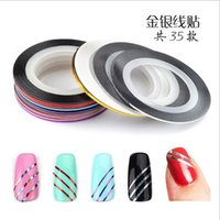 Wholesale piece New Hot Colorful nail painted gold and silver wire attached with adhesive nail stickers