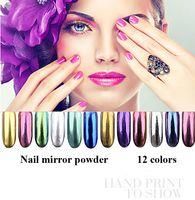 Wholesale 2016 Shinning Nail Mirror Powder colors g box Nail Art Chorm Pigment Glitter Mirror Powder with Bursh free