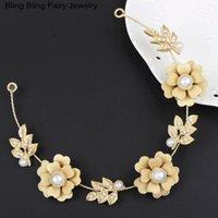 Wholesale 2016 fashion Wedding Party Decoration New Design Wedding Gold Leaf Hair Jewelry Bridal Pearl Flower Headpiece