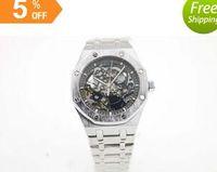 ap cases - 2016new High Quality Brand ap Auto Watch Silver Case Black Hollow Dial Silver Band Oak shore Clock Casaul Watch Montre Homme