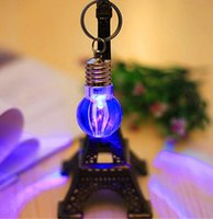 Wholesale Bulb necklace bulb keychain LED Flashlight Light Bulb Key Ring Keychain Lamp Torch Toy rainbow color
