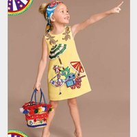 baby dress new style - 2016 Children New Summer Style Baby Girls Fashion Yellow Cartoon Dress Cute Sleeveless Dress with Back Zipper Lovely Princess Dress