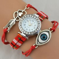 Wholesale Bracelet Eye With Arrow Heart Handmade Watch Rhinestone Dial Window Hand Watch For Girl