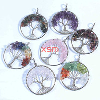 Wholesale Wisdom Tree Pendant Chakra Citrine Amethyst Agate Beaded Natural Stone Tree Of Life Pendants Christmas Gifts For Women pc