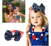adult hair bows - 2016 New American Flag Headbands th of July Independence Day Knotted Headwrap with Gair Bow American Flag Baby Adult Hair Accessories