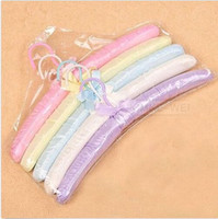 Wholesale 5pcs soft fabric hangers for clothes colorful high quality with nice design