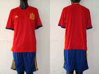 Wholesale 16 Spain home soccer jersey Sets Men size Top quality put any name and number accept mix order