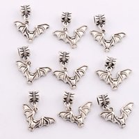 bat bracelet - 2016 hot Antique Silver Bat with Open Wings Charm Beads Dangle Fit European Bracelets Jewelry DIY B979 x23 mm