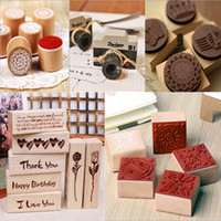 Wholesale Styles can Choose DIY Scrapbooking Lace Decoration Stamps Ink Pad Stamp Wax Seal Stamp Vintage Flower Wood Rubber Craft