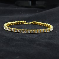 Wholesale Iced Out Row Rhinestones Bracelet Men s Hip Hop Style Clear Simulated Diamond quot Bracelet Bling Bling