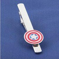 Wholesale Super Hero Tie Clips Men s Jewelry Tie Clips Captain American Metal Tie Clips Accessories Movie Jewelry League of Avengers