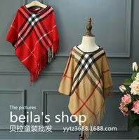 Wholesale Japan and South Korea is the new British style children Cashmere Scarf Shawl tassels lattice