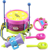 Wholesale 5 Set Hot Baby Toys Hand Drum Beat Rattles Educational Kids Toys Children Rattle for Newborn Baby Gift