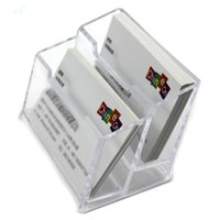 beverage business - Double Layers Clear Plastic Durable Business Name Cards Holder for Office Table Desk School