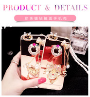 apple chian - For iphone s plus Kitty Mirror Case with Ring Pearl Chian Luxury Bling Dianond Soft TPU Phone Back Cover