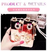Para el iphone 6 6s más el caso del espejo del gatito con el anillo + la perla Bling de lujo de Chian Bling Dianond la cubierta posterior del teléfono de TPU