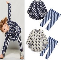 Wholesale poke baby clothes Girls cartoon dress Sets Children Baby Girl princess Kids clothing Toddler Infant Casual Long Sleeve Suits