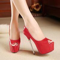 Cheap Hot Sale Fish Mouth Sandals Cheap PU Shoes for Women Thick Waterproof Platform High Heels Shoes Heel 16cm Platform 6cm YY0832