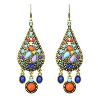 Wholesale Ethnic Style Vintage Bohemian Colorful Created Gemstone Drop Earrings New Brincos For Women