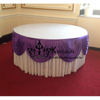 Wholesale Nice Looking Ice Silk Table Skirt With Swag For Wedding Decoration White And Purple Color