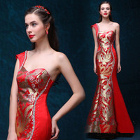 beautiful chinese models - 2016 New Chinese Bride Toast Wine Red Ail Was Thin Shoulder Dress Cheongsam Evening Dress Confortable Beautiful Eye contracting B