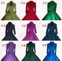 Wholesale 100PCS Vintage s s Audrey Hepburn Women Pinup Check Swing Dress Street Party Rockabilly Belt Dress Coat Colors LJJJ88