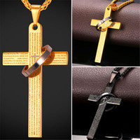 accessories bibles - U7 Bible Verse Cross Pendant Necklace For Women Men Gold Black Gun Plated Stainless Steel Fashion Religious Jewelry Perfect Gift Accessories